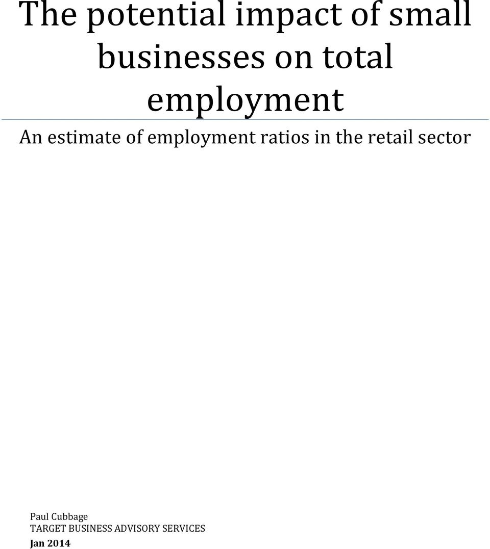 employment ratios in the retail sector