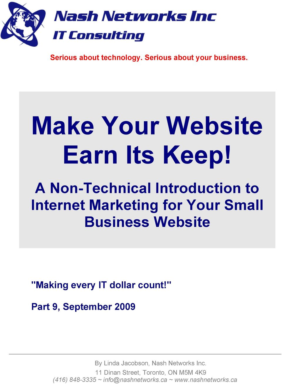 "A Non-Technical Introduction to Internet Marketing for Your Small Business Website ""Making every IT"