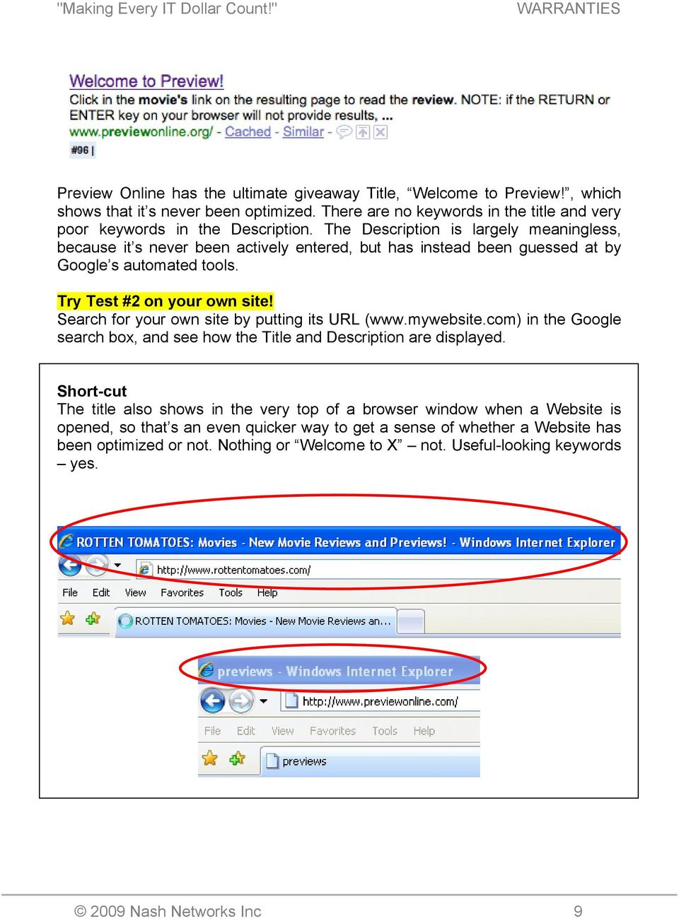 Search for your own site by putting its URL (www.mywebsite.com) in the Google search box, and see how the Title and Description are displayed.