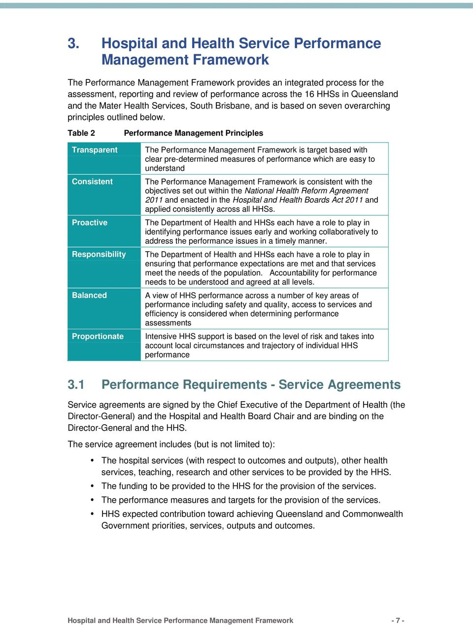 Table 2 Performance Management Principles Transparent Consistent Proactive Responsibility Balanced Proportionate The Performance Management Framework is target based with clear pre-determined