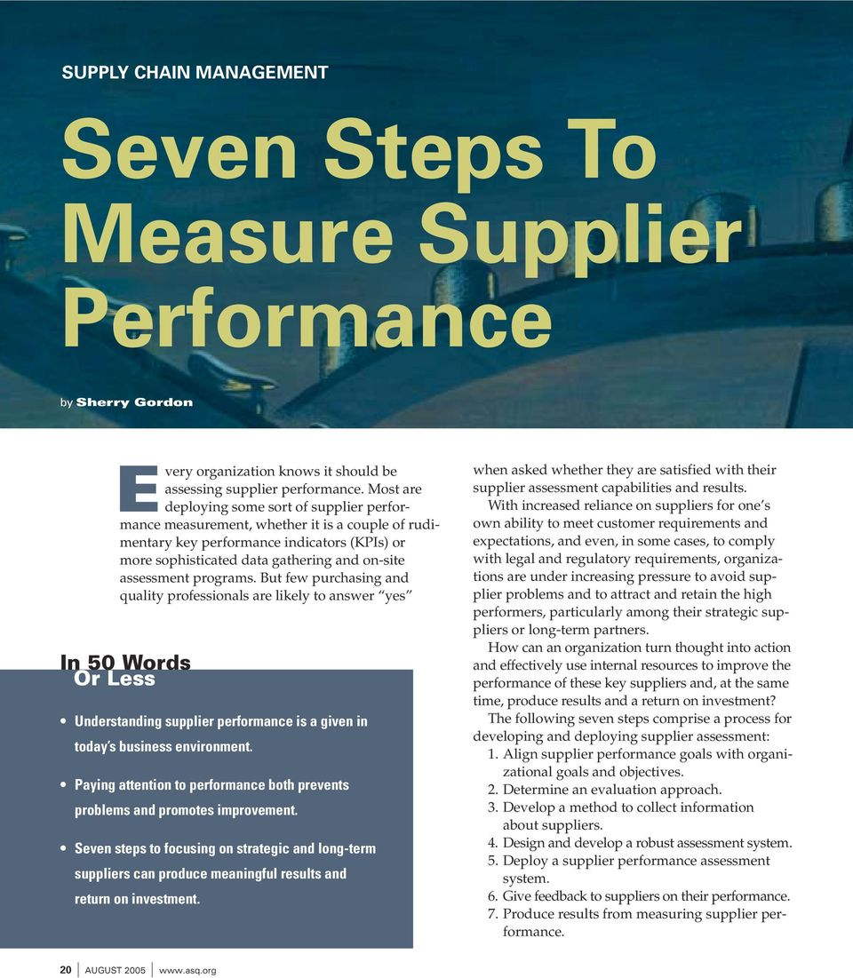 programs. But few purchasing and quality professionals are likely to answer yes In 50 Words Or Less Understanding supplier performance is a given in today s business environment.