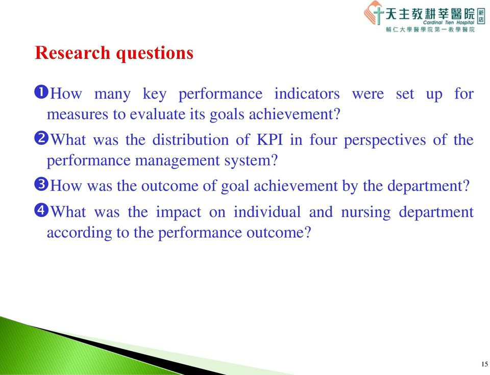What was the distribution of KPI in four perspectives of the performance management