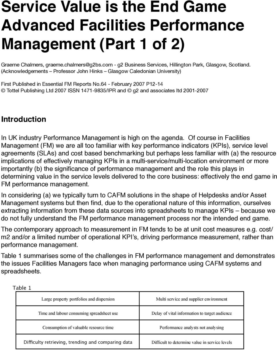 64 - February 2007 P12-14 Tottel Publishing Ltd 2007 ISSN 1471-9835/IPR and g2 and associates ltd 2001-2007 Introduction In UK industry Performance Management is high on the agenda.