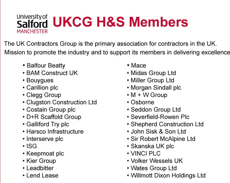 Construction Ltd Costain Group plc D+R Scaffold Group Galliford Try plc Harsco Infrastructure Interserve plc ISG Keepmoat plc Kier Group Leadbitter Lend Lease Mace Midas
