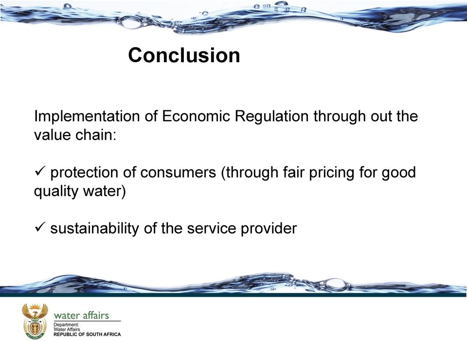 protection of consumers (through fair pricing