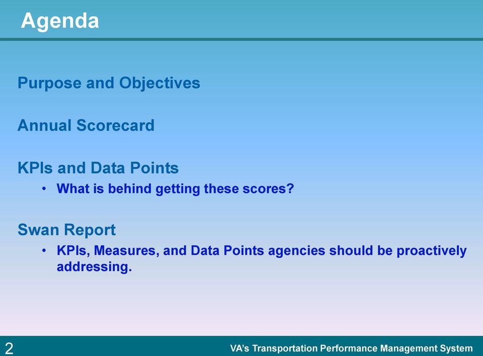 Swan Report KPIs, Measures, and Data Points agencies should