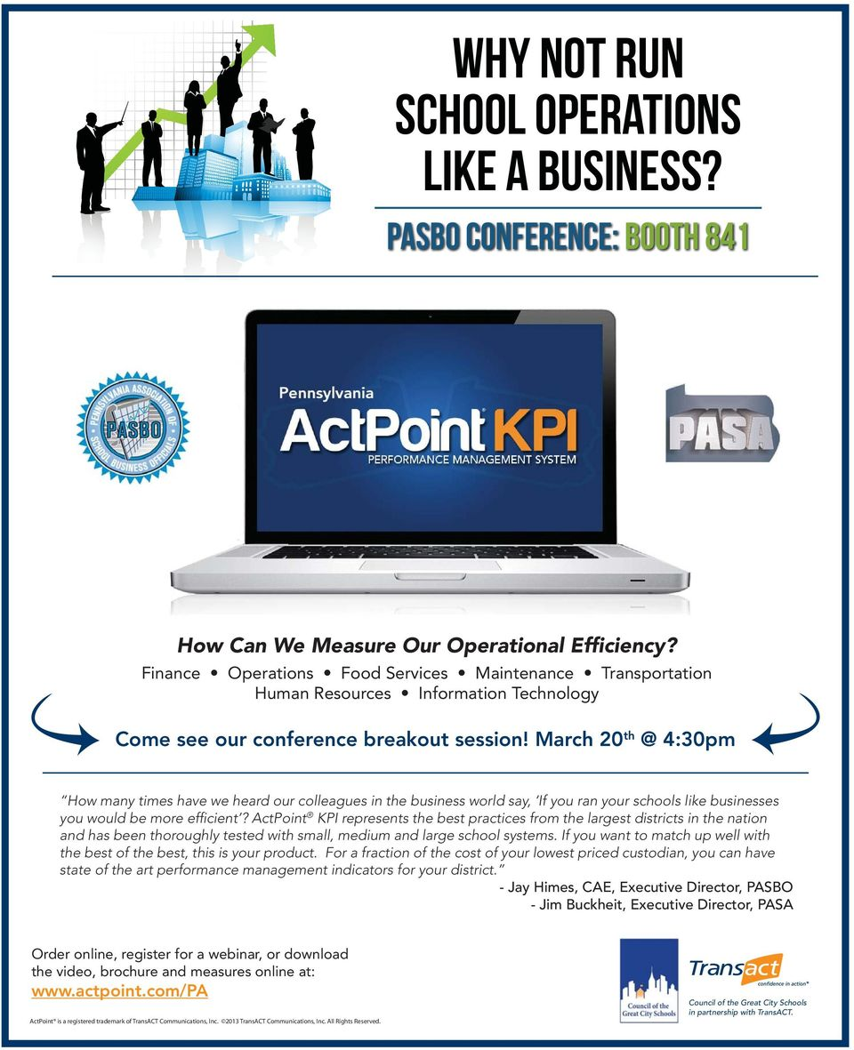 March 20th @ 4:30pm How many times have we heard our colleagues in the business world say, If you ran your schools like businesses you would be more efficient?