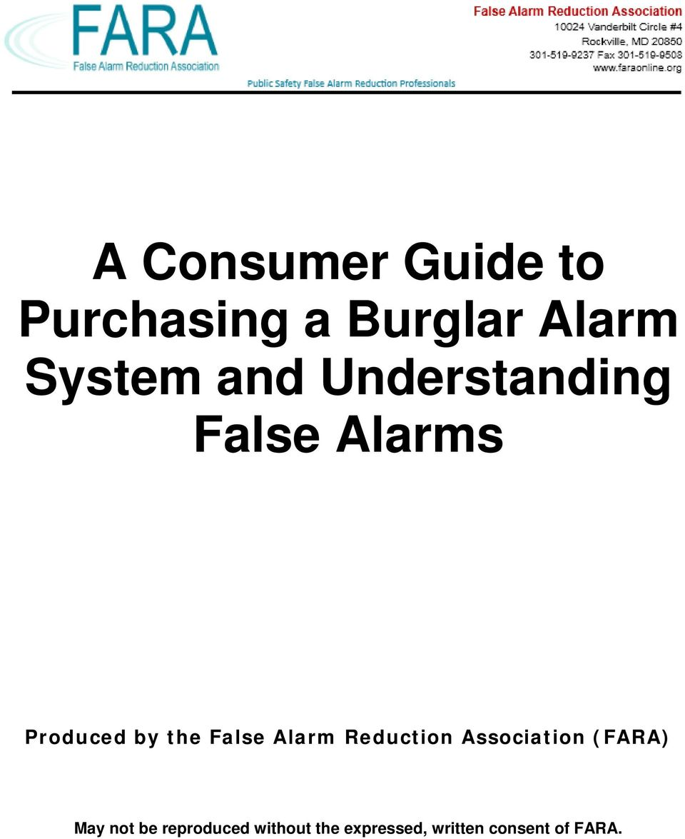 the False Alarm Reduction Association (FARA) May not
