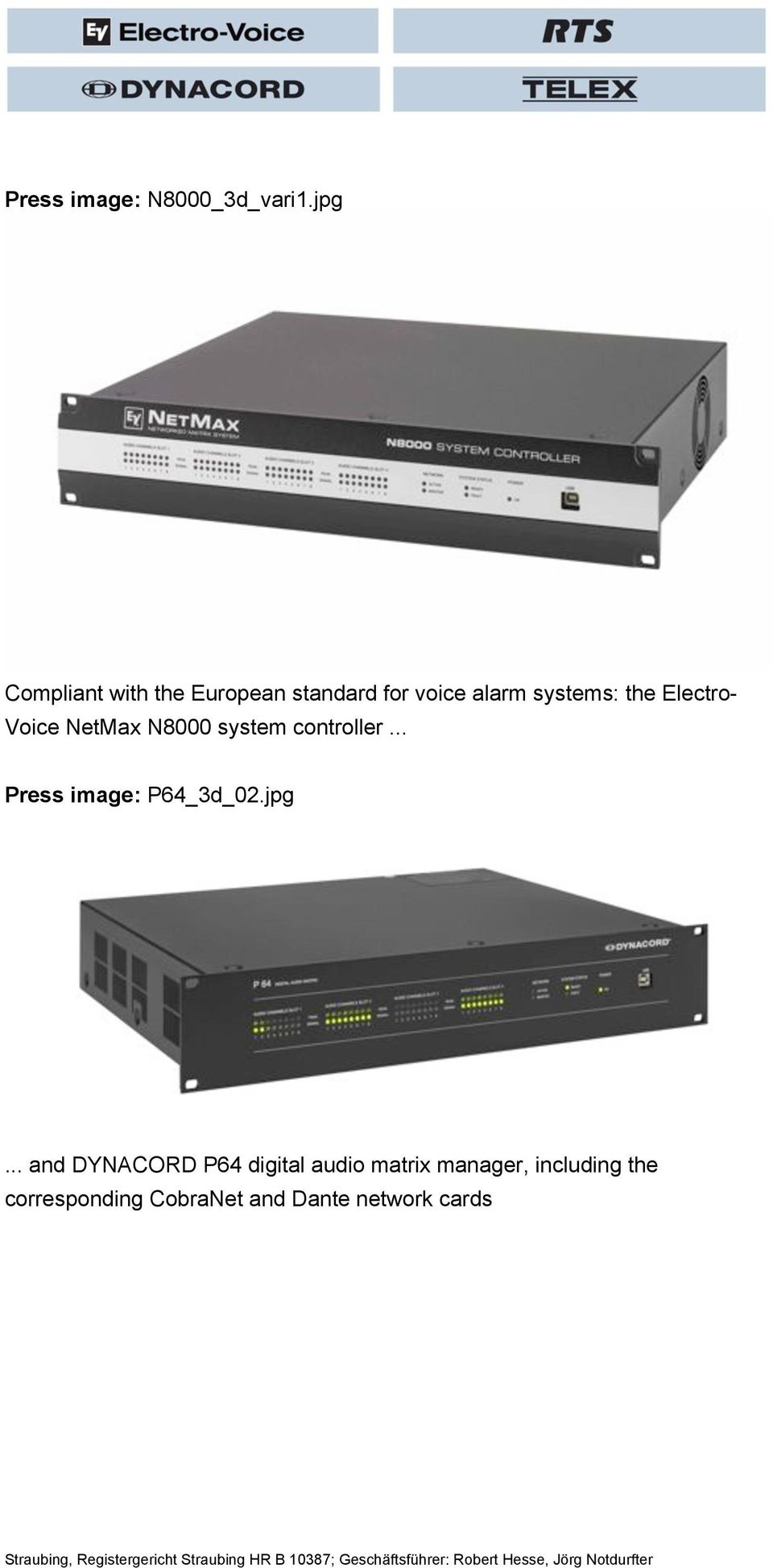 Electro- Voice NetMax N8000 system controller... Press image: P64_3d_02.