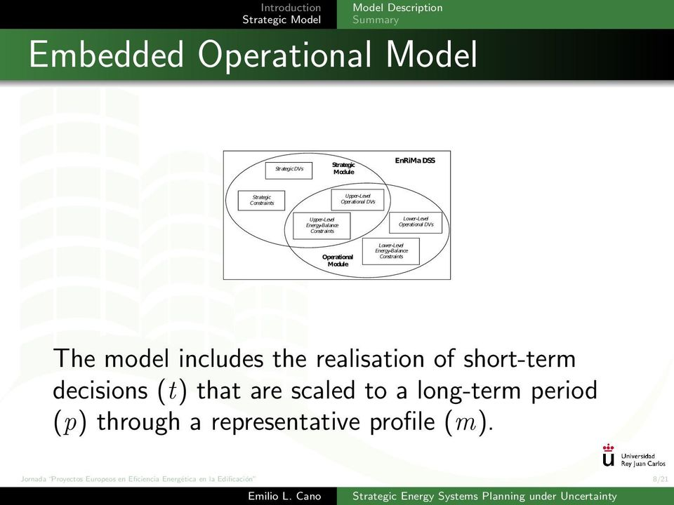 Energy-Balance Constraints The model includes the realisation of short-term decisions (t) that are scaled to a