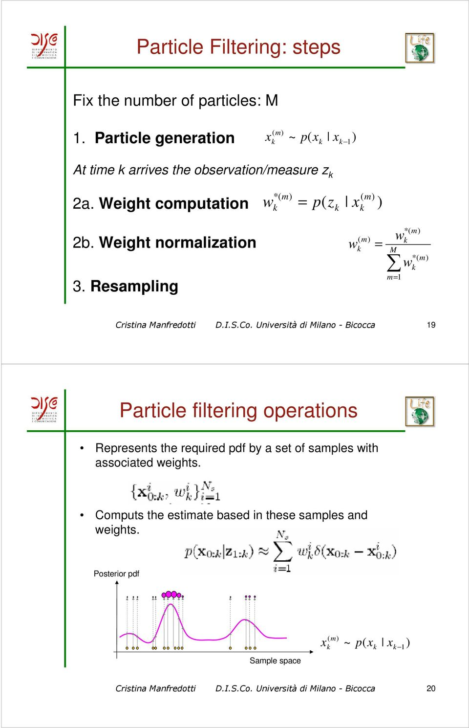 Co. Università di Milano - Bicocca 19 Particle filtering operations Represents the required pdf by a set of samples with associated weights.