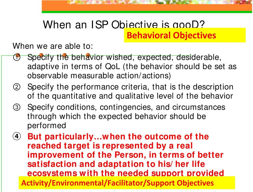 action/actions) 2 Specify the performance criteria, that is the description of the quantitative and qualitative level of the behavior 3 Specify conditions, contingencies, and