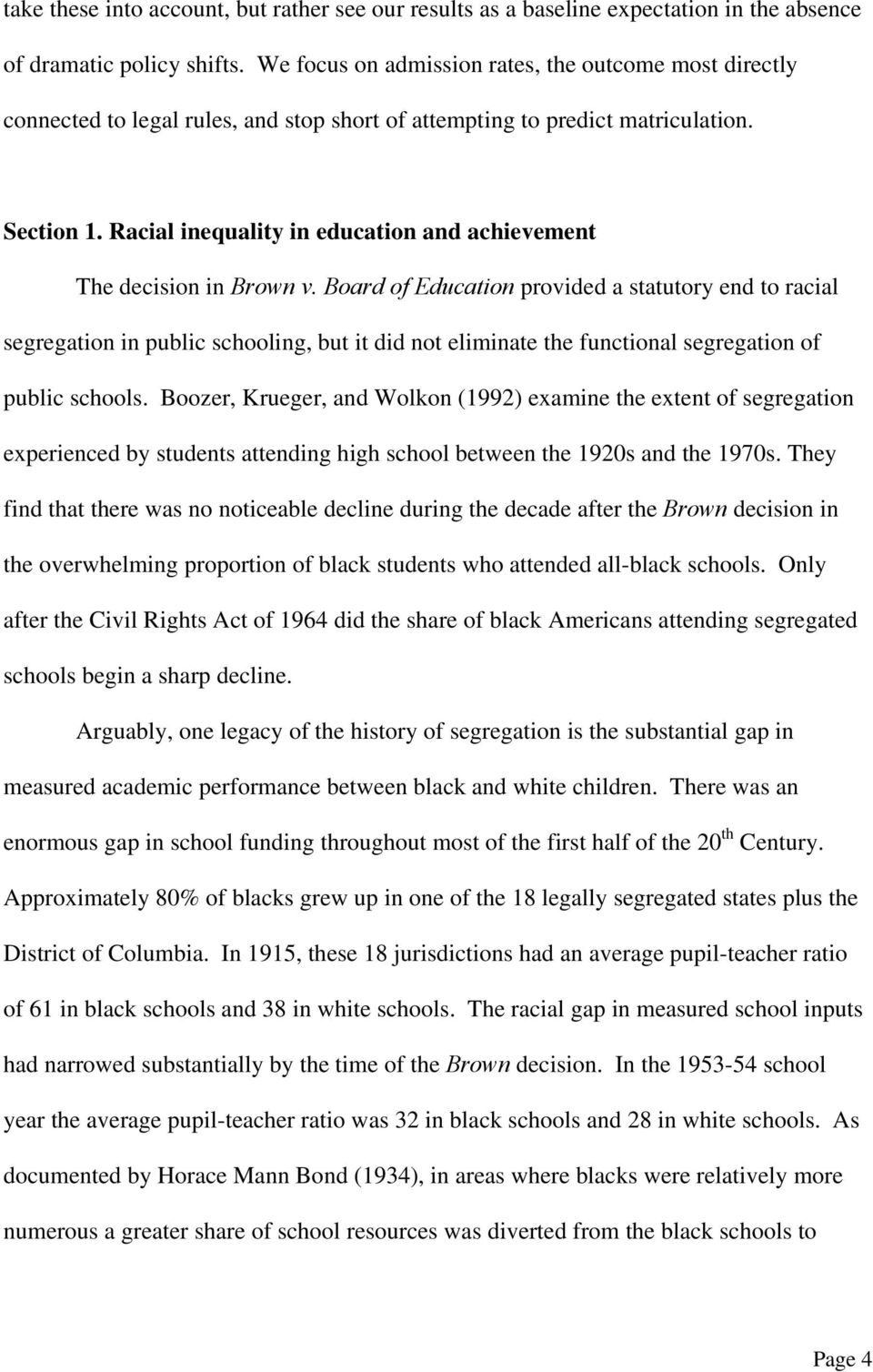 Racial inequality in education and achievement The decision in Brown v.