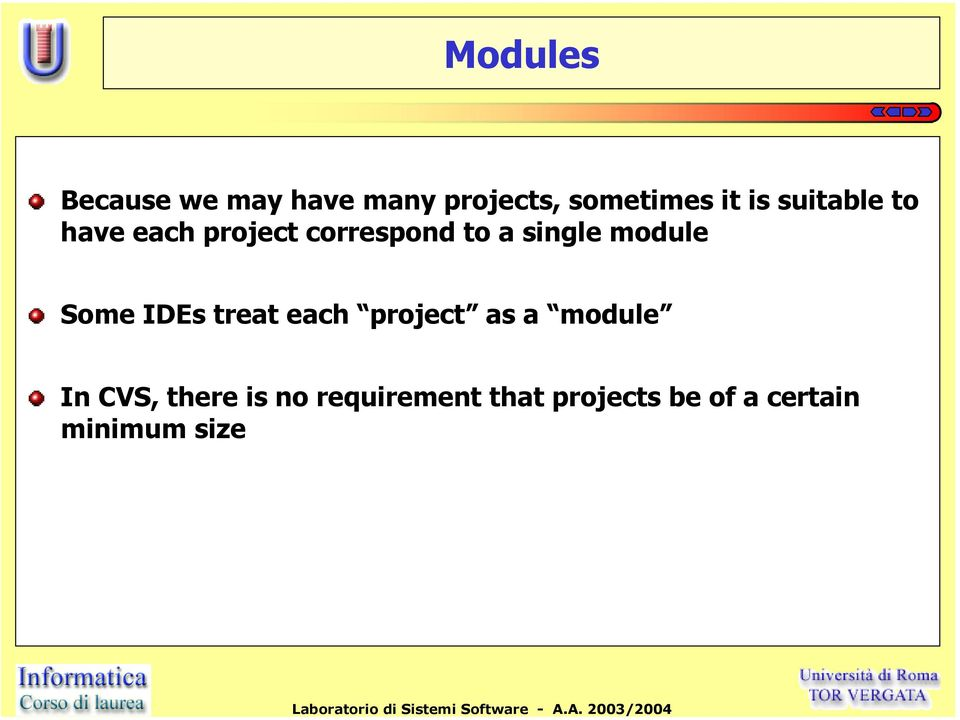 module Some IDEs treat each project as a module In CVS,