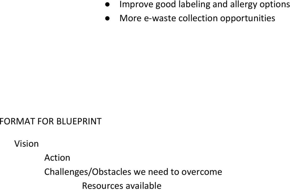 FORMAT FOR BLUEPRINT Vision Action