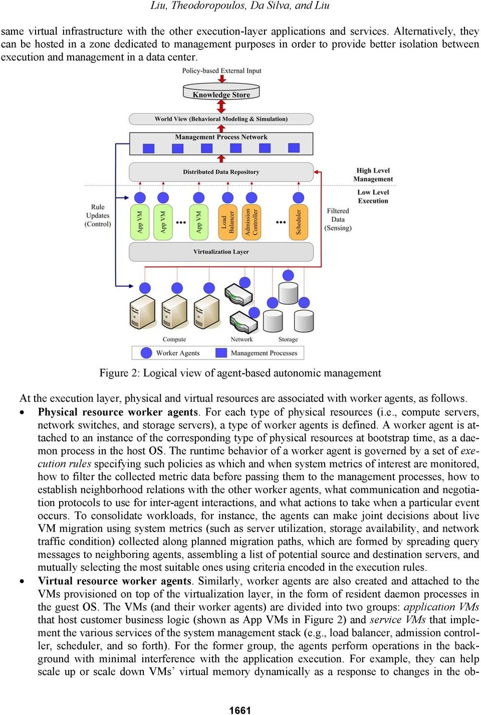Figure 2: Logical view of agent-based autonomic management At the execution layer, physical and virtual resources are associated with worker agents, as follows. Physical resource worker agents.