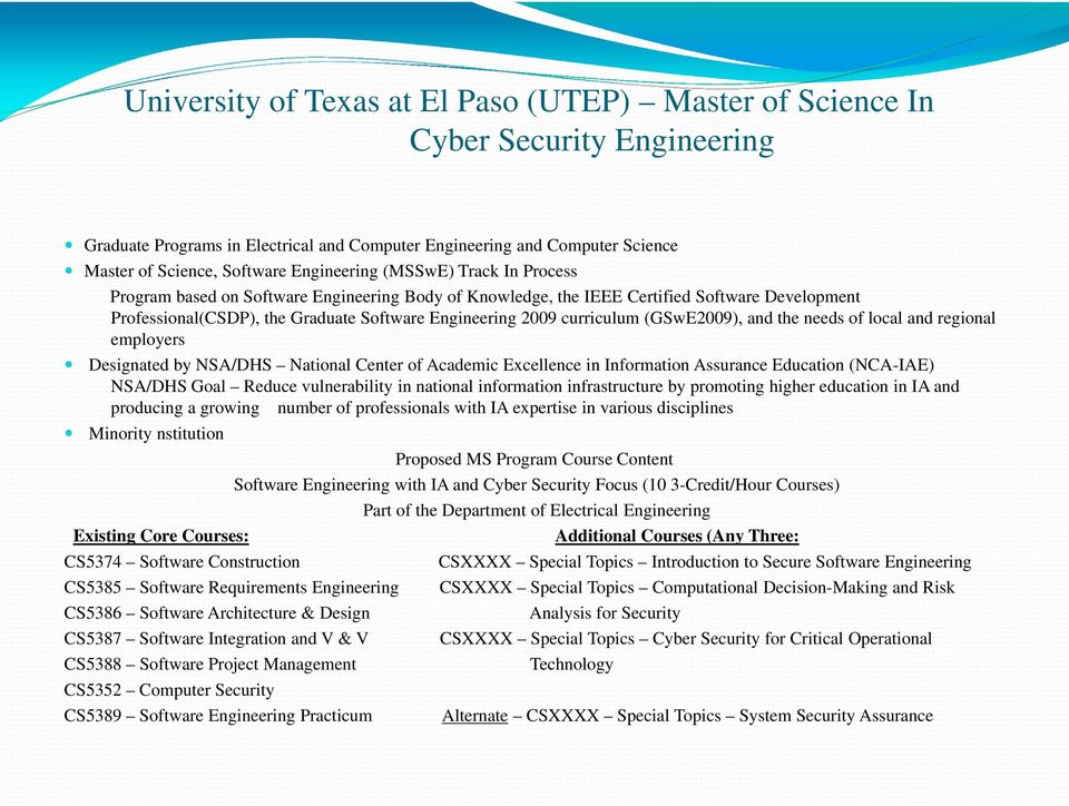 needs f lcal and reginal emplyers Designated by NSA/DHS Natinal Center f Academic Excellence in Infrmatin Assurance Educatin (NCA-IAE) NSA/DHS Gal Reduce vulnerability in natinal infrmatin