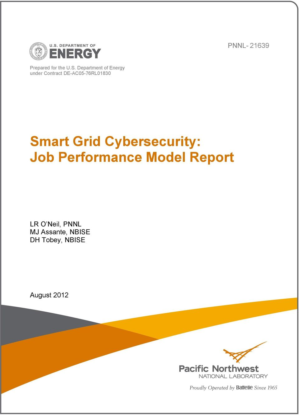 DE-AC05-76RL01830 Smart Grid Cybersecurity: Job