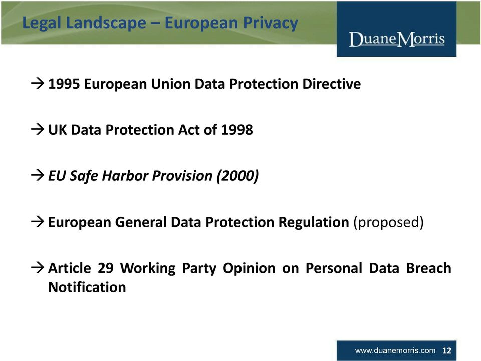 European General Data Protection Regulation (proposed) Article 29 Working