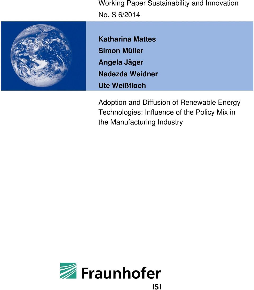 Weidner Ute Weißfloch Adoption and Diffusion of Renewable