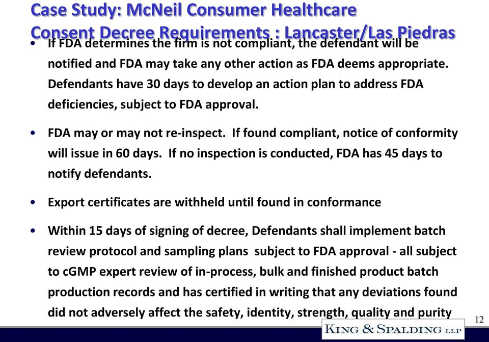 If found compliant, notice of conformity will issue in 60 days. If no inspection is conducted, FDA has 45 days to notify defendants.