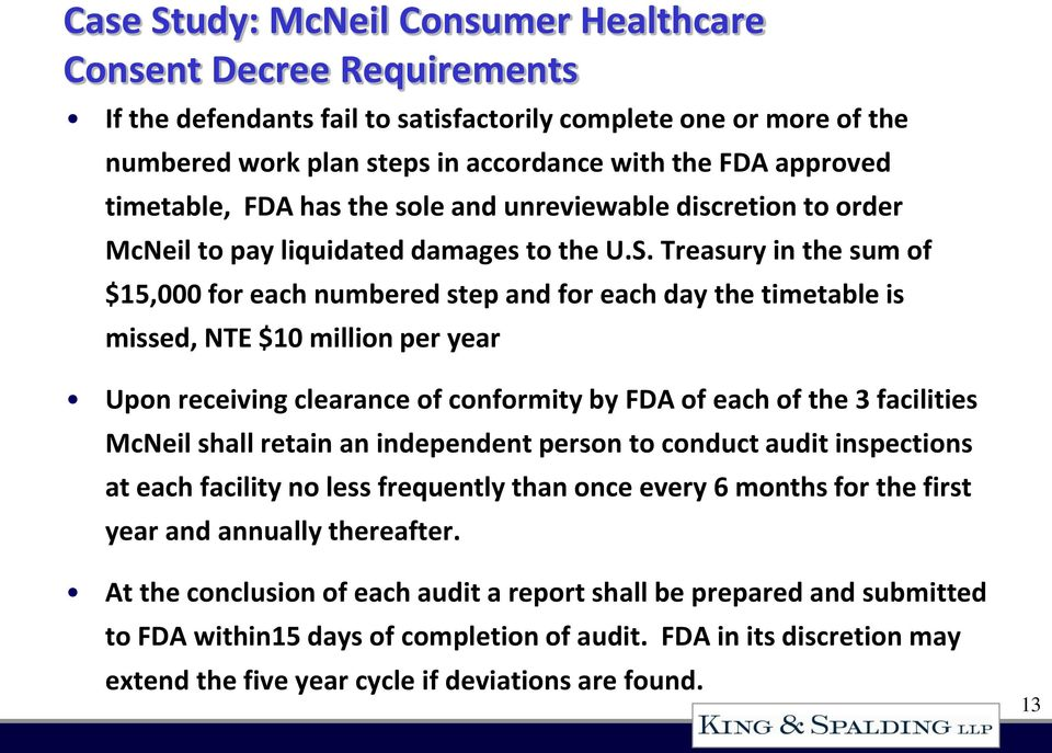 Treasury in the sum of $15,000 for each numbered step and for each day the timetable is missed, NTE $10 million per year Upon receiving clearance of conformity by FDA of each of the 3 facilities