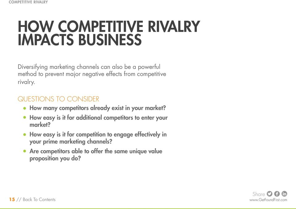 Questions to Consider How many competitors already exist in your market?