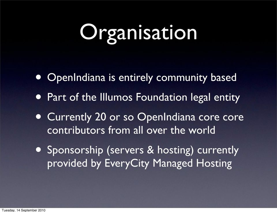 OpenIndiana core core contributors from all over the world