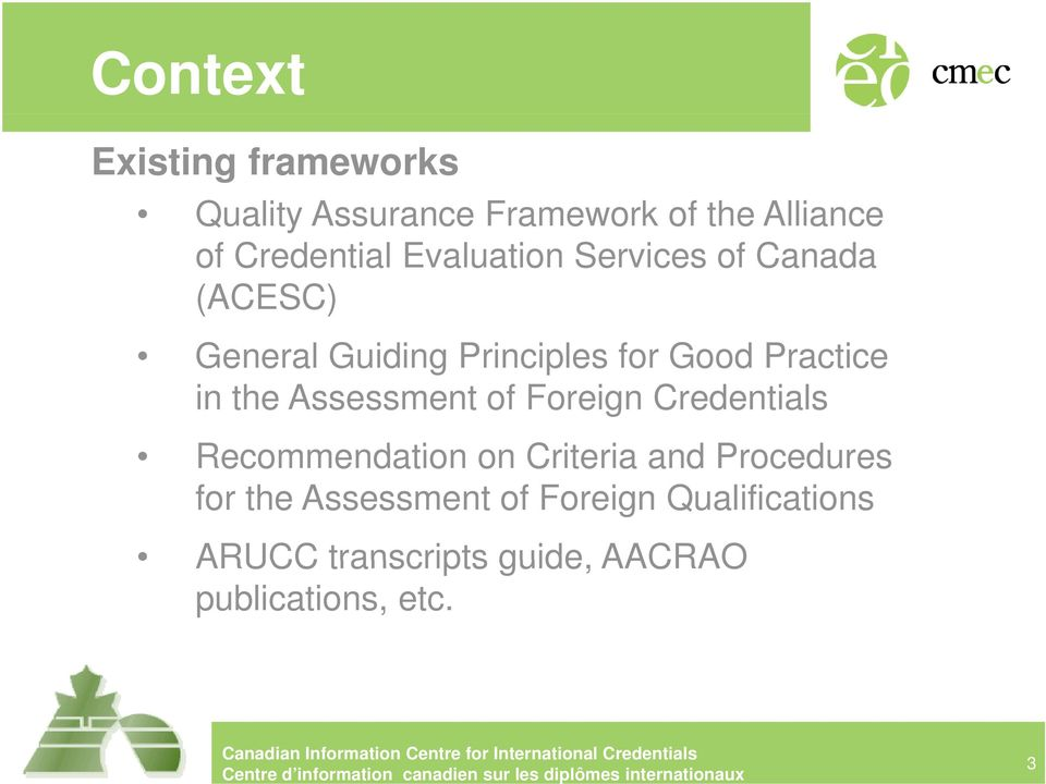the Assessment of Foreign Credentials Recommendation on Cit Criteria i and dprocedures