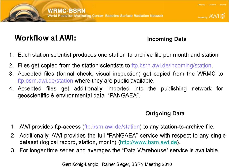 Accepted files get additionally imported into the publishing network for geoscientific & environmental data PANGAEA. Outgoing Data 1. AWI provides ftp-access (ftp.bsrn.awi.