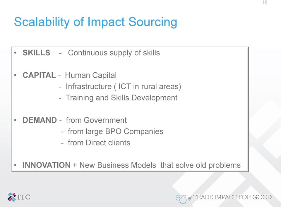 and Skills Development DEMAND - from Government - from large BPO Companies