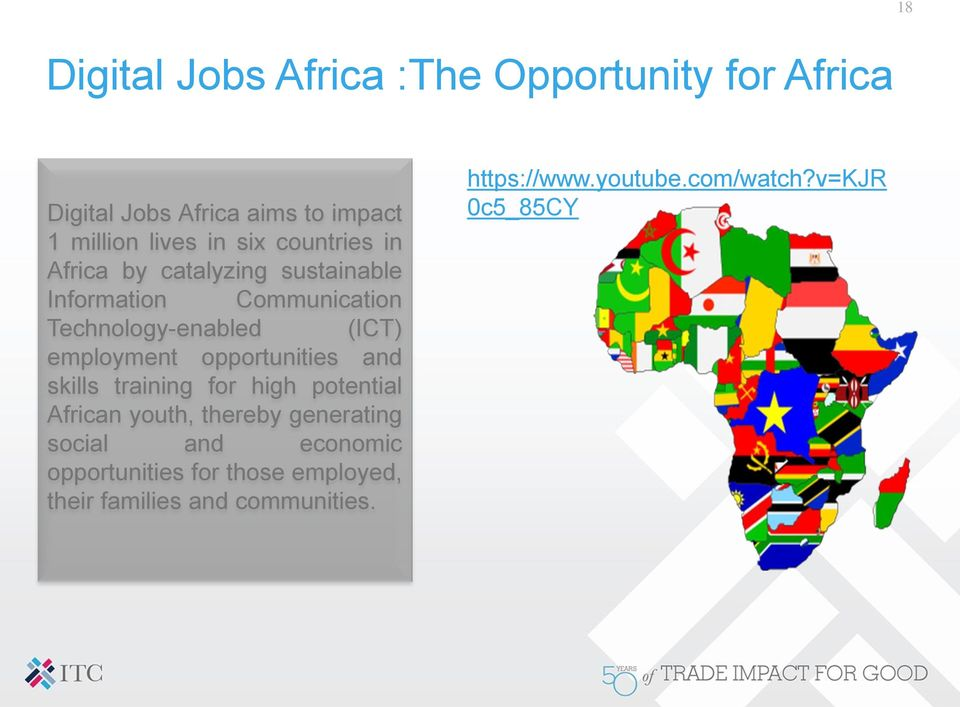 opportunities and skills training for high potential African youth, thereby generating social and economic