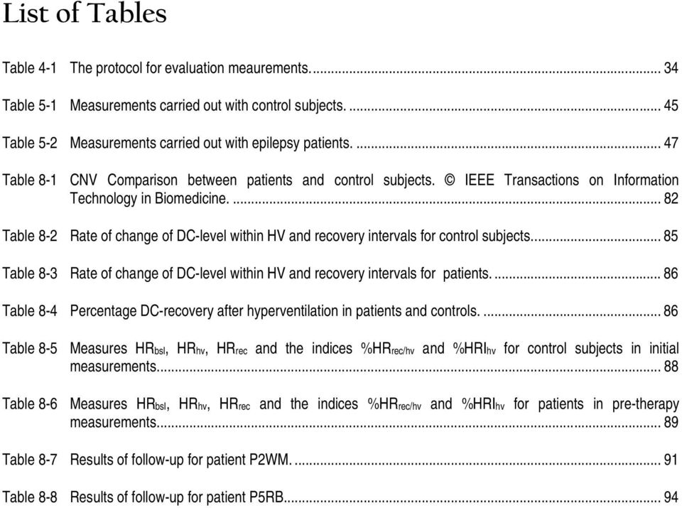 ... 82 Table 8-2 Rate of change of DC-level within HV and recovery intervals for control subjects... 85 Table 8-3 Rate of change of DC-level within HV and recovery intervals for patients.