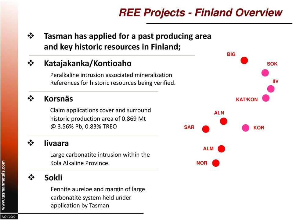 IIV Korsnäs KAT/KON Claim applications cover and surround historic production area of 0.869 Mt @ 3.56% Pb, 0.