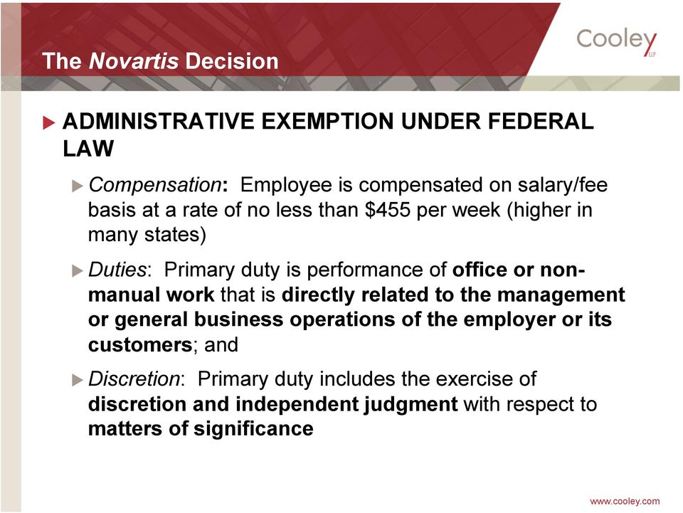 nonmanual work that is directly related to the management or general business operations of the employer or its