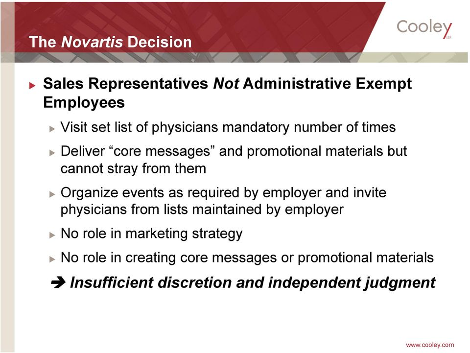 events as required by employer and invite physicians from lists maintained by employer No role in marketing