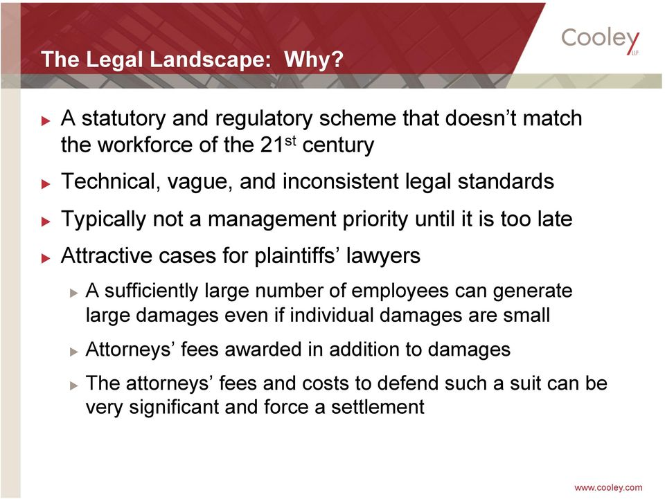 legal standards Typically not a management priority until it is too late Attractive cases for plaintiffs lawyers A sufficiently