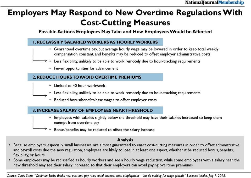 offset employer administrative costs Less flexibility, unlikely to be able to work remotely due to hour-tracking requirements Fewer opportunities for advancement 2.