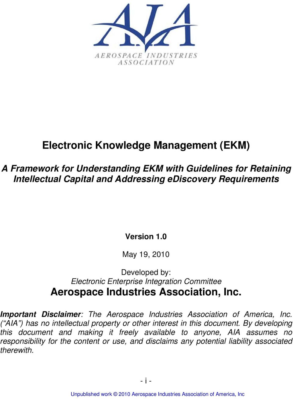 Important Disclaimer: The Aerospace Industries Association of America, Inc.
