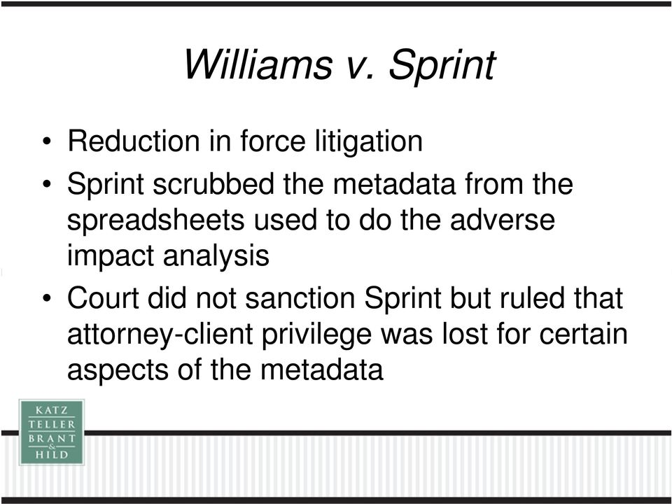 metadata from the spreadsheets used to do the adverse impact