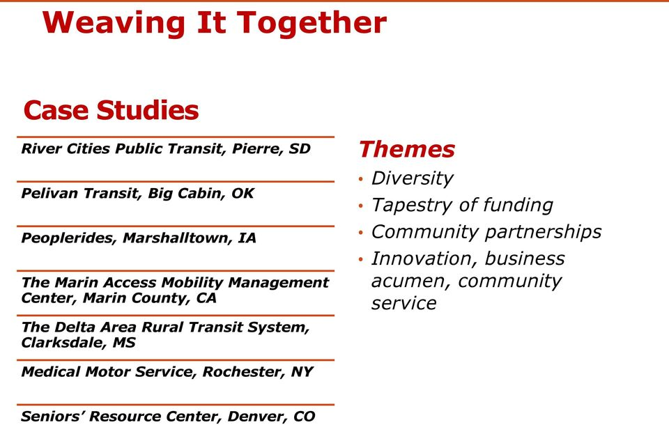 Rural Transit System, Clarksdale, MS Themes Diversity Tapestry of funding Community partnerships