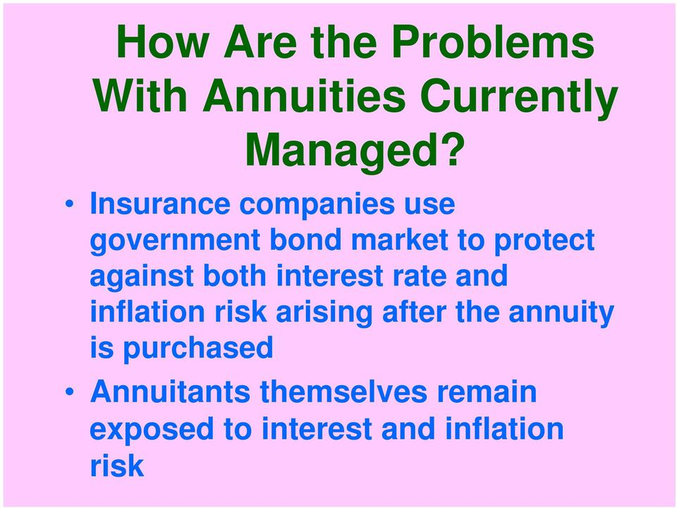 both interest rate and inflation risk arising after the annuity is