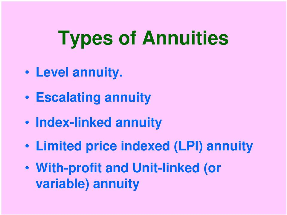 Limited price indexed (LPI) annuity