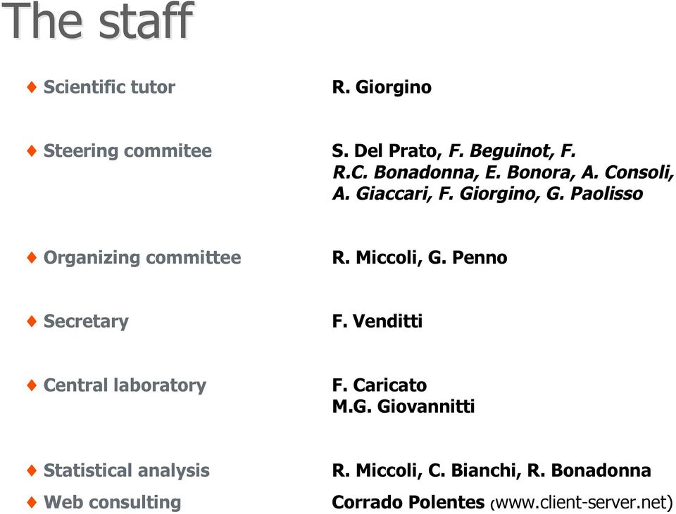 Miccoli, G. Penno Secretary F. Venditti Central laboratory F. Caricato M.G. Giovannitti Statistical analysis Web consulting R.