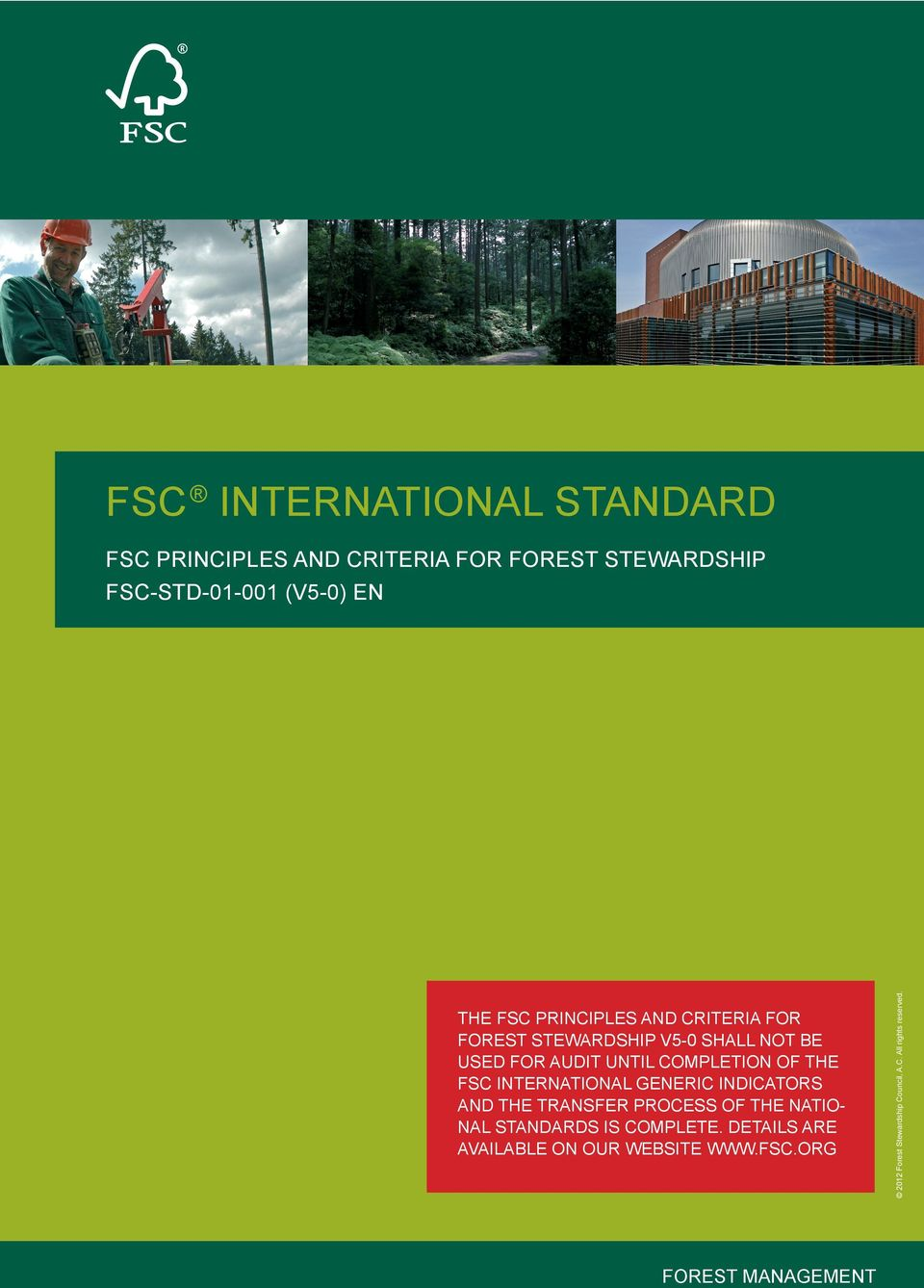audit until CoMPletIon of the FSC InternatIonal GenerIC IndICatorS and the transfer ProCeSS of