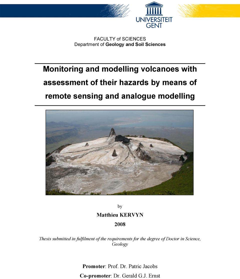 modelling by Matthieu KERVYN 2008 Thesis submitted in fulfilment of the requirements for