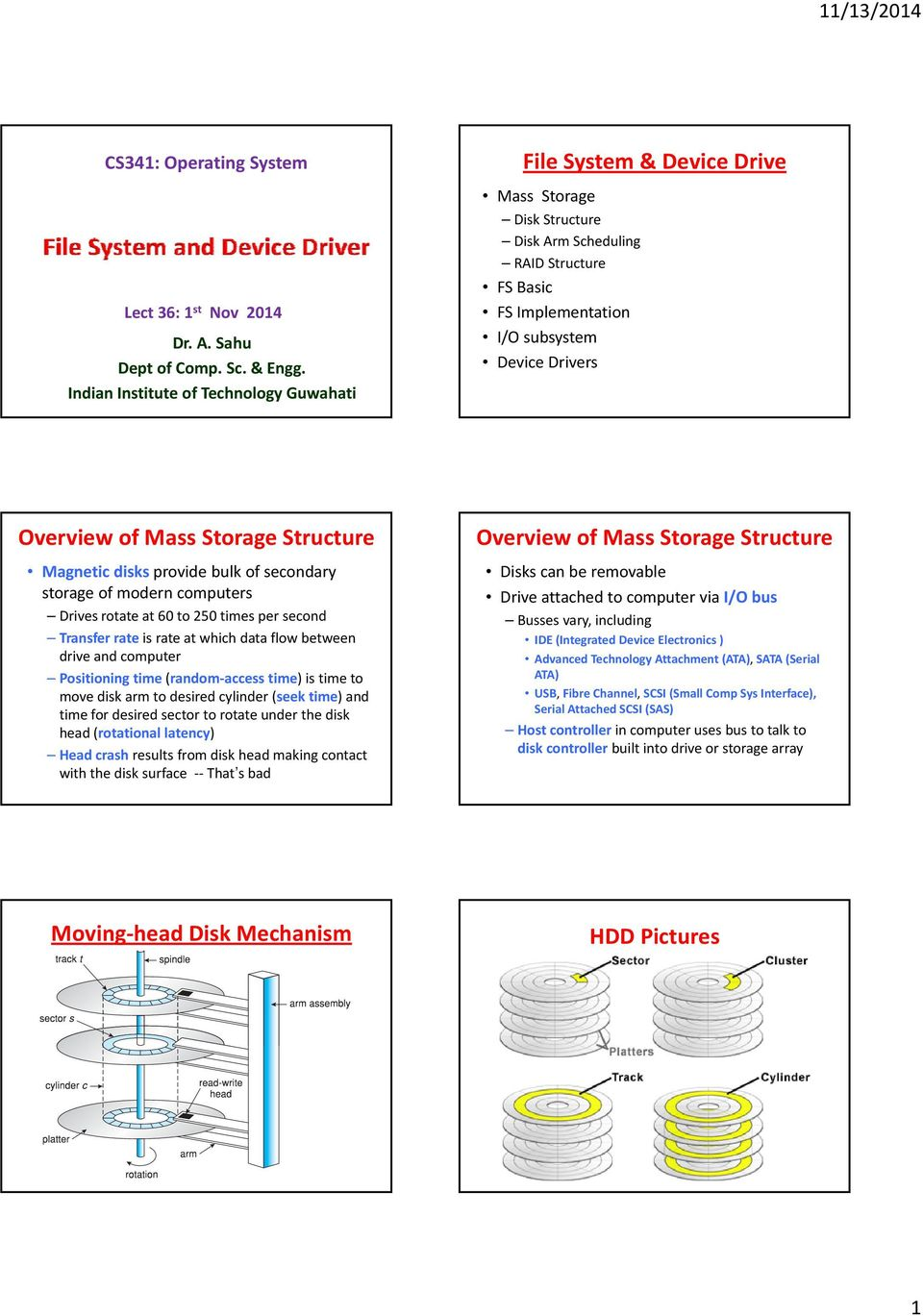 Mass Storage Structure Magnetic disks provide bulk of secondary storage of modern computers Drives rotate at 60 to 250 times per second Transfer rate is rate at which data flow between drive and
