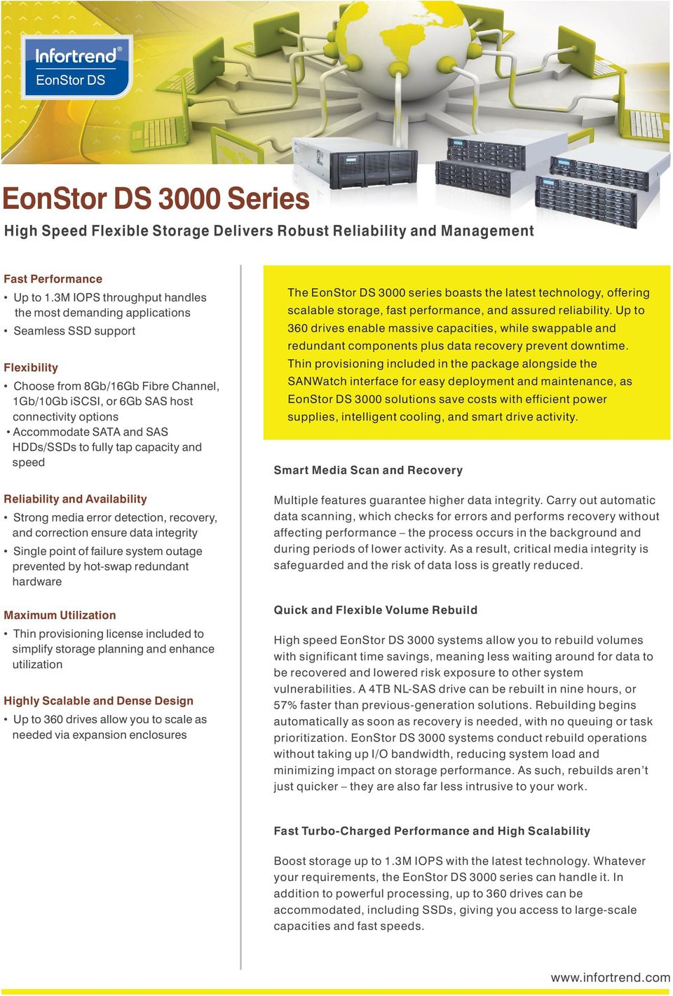 reliability. Up to 60 drives enable massive capacities, while swappable and redundant components plus data recovery prevent downtime.