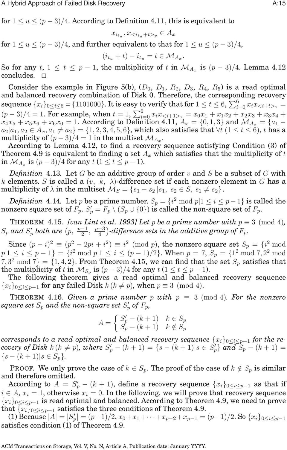 So for any t, 1 t p 1, the multiplicity of t in M Ax is (p 3)/4. Lemma 4.12 concludes.