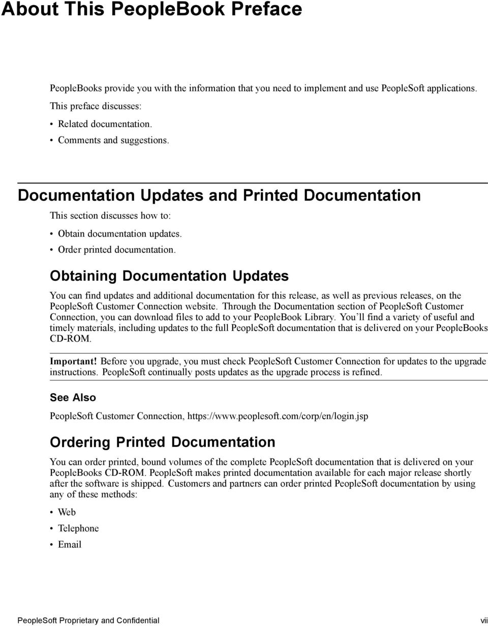 Obtaining Documentation Updates You can find updates and additional documentation for this release, as well as previous releases, on the PeopleSoft Customer Connection website.